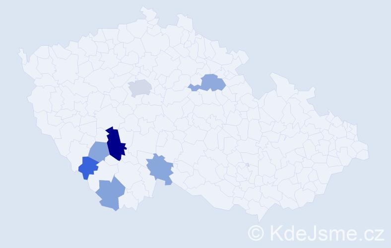Příjmení: 'Felbábová', počet výskytů 15 v celé ČR
