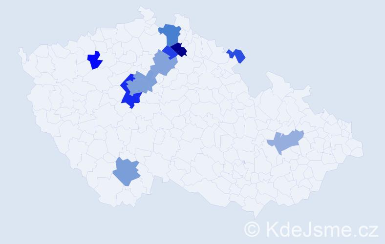 Příjmení: 'Chundelová', počet výskytů 44 v celé ČR