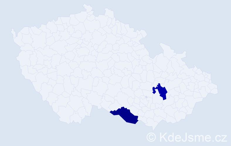 Příjmení: 'Gschwindl', počet výskytů 2 v celé ČR