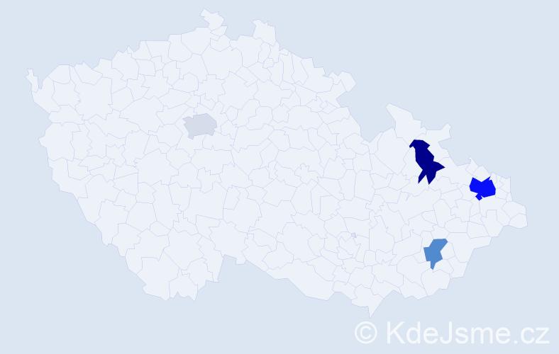 Příjmení: 'Galař', počet výskytů 7 v celé ČR