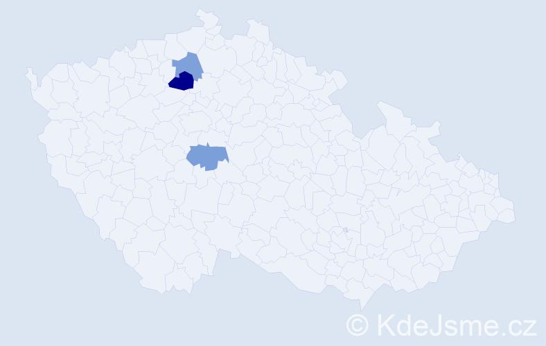 Příjmení: 'Frída', počet výskytů 4 v celé ČR