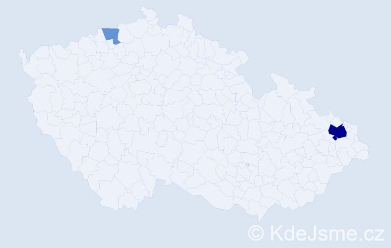 Příjmení: 'Barilič', počet výskytů 7 v celé ČR