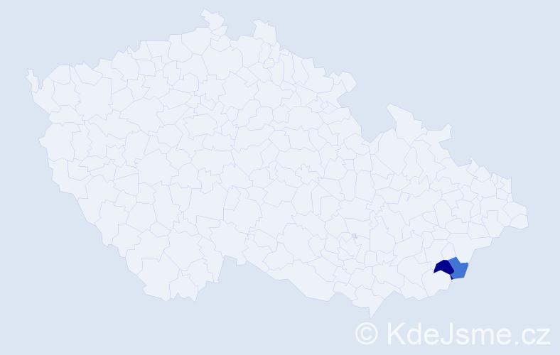 Příjmení: 'Častula', počet výskytů 10 v celé ČR