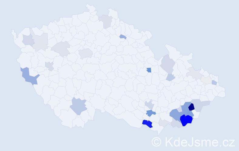 Příjmení: 'Dolinová', počet výskytů 103 v celé ČR
