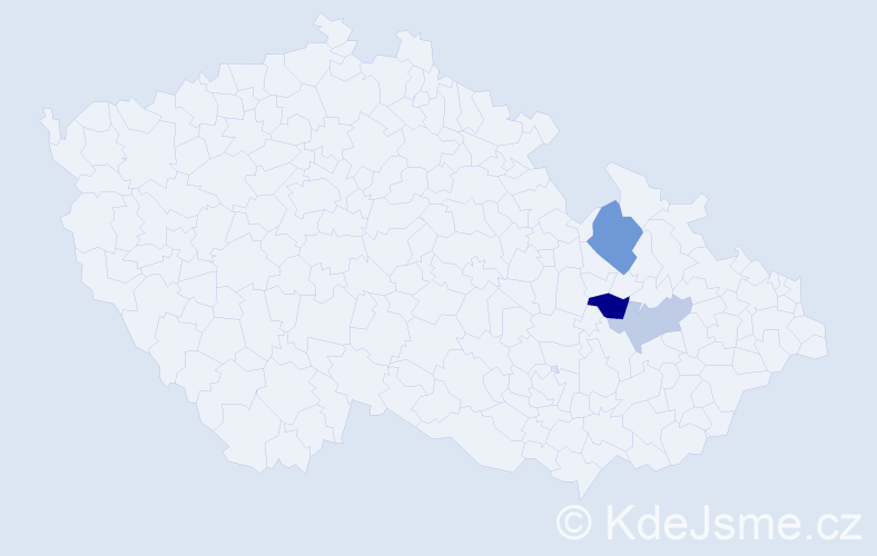 Příjmení: 'Aigl', počet výskytů 5 v celé ČR