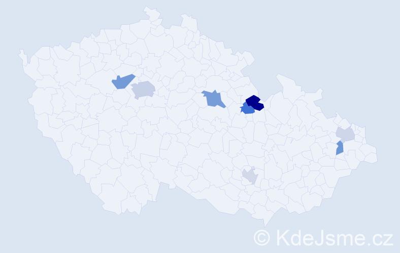 Příjmení: 'Bartakovičová', počet výskytů 14 v celé ČR