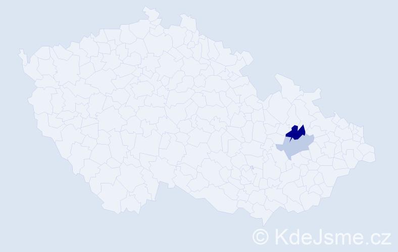 Příjmení: 'Kalfertová', počet výskytů 9 v celé ČR