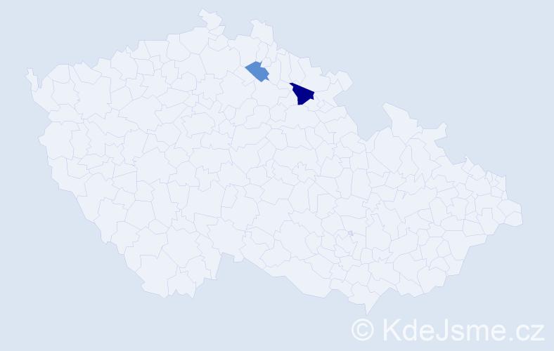 Příjmení: 'Hanisková', počet výskytů 3 v celé ČR