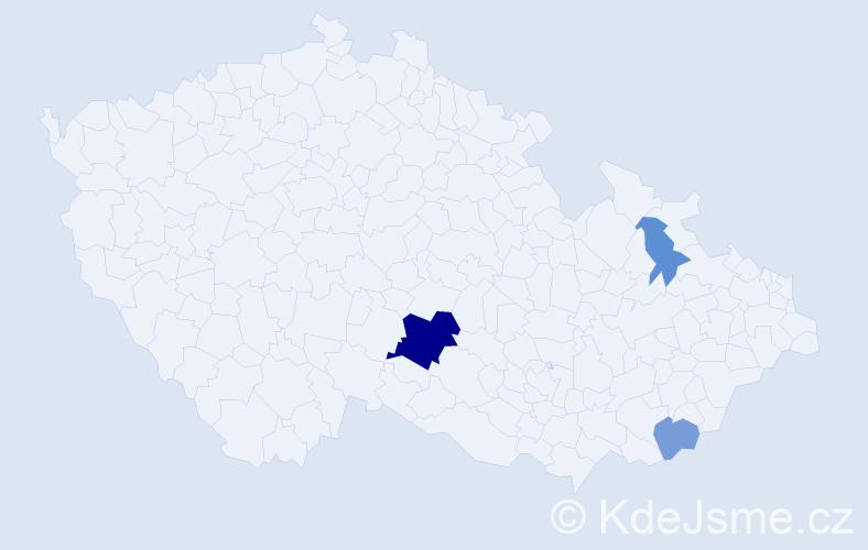 Příjmení: 'Hladek', počet výskytů 7 v celé ČR