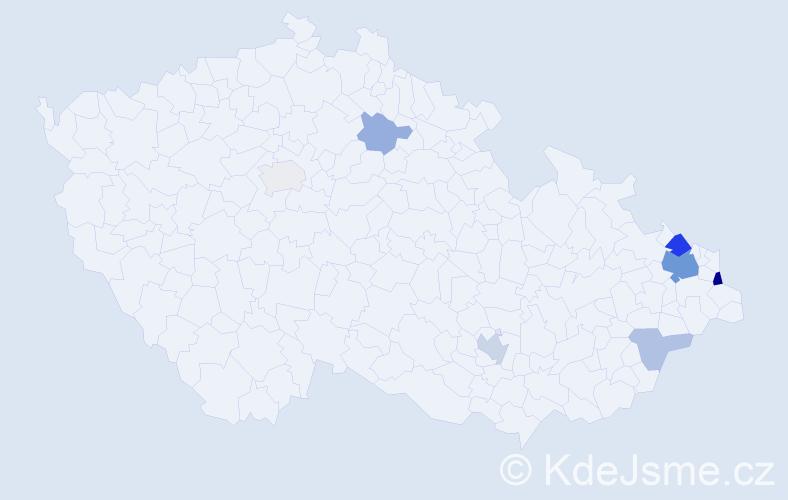 Příjmení: 'Faruzelová', počet výskytů 19 v celé ČR