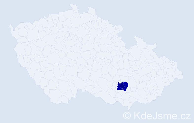 Příjmení: 'Hanoun', počet výskytů 5 v celé ČR