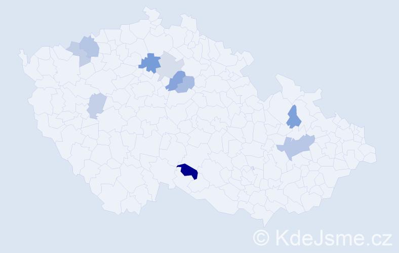 Příjmení: 'Černášová', počet výskytů 18 v celé ČR