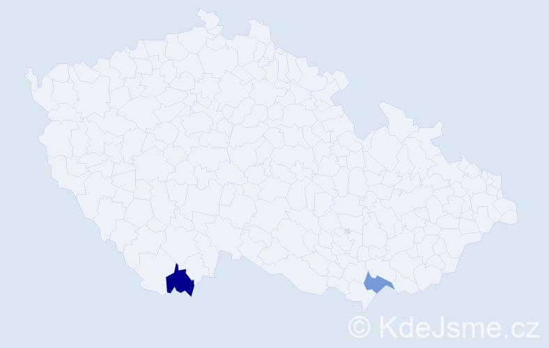 Příjmení: 'Cutlac', počet výskytů 2 v celé ČR