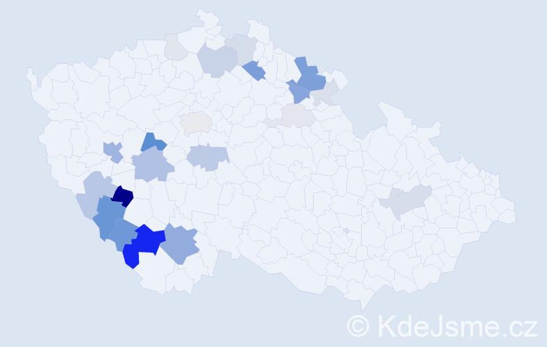 Příjmení: 'Lád', počet výskytů 66 v celé ČR