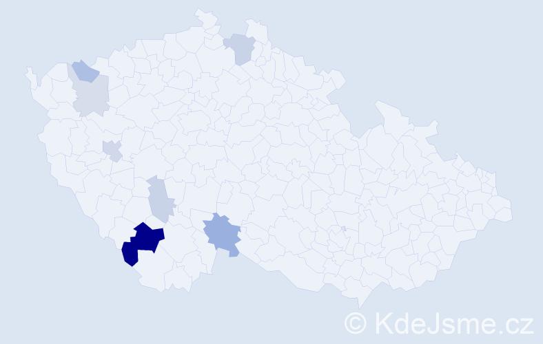 Příjmení: 'Andraschková', počet výskytů 17 v celé ČR