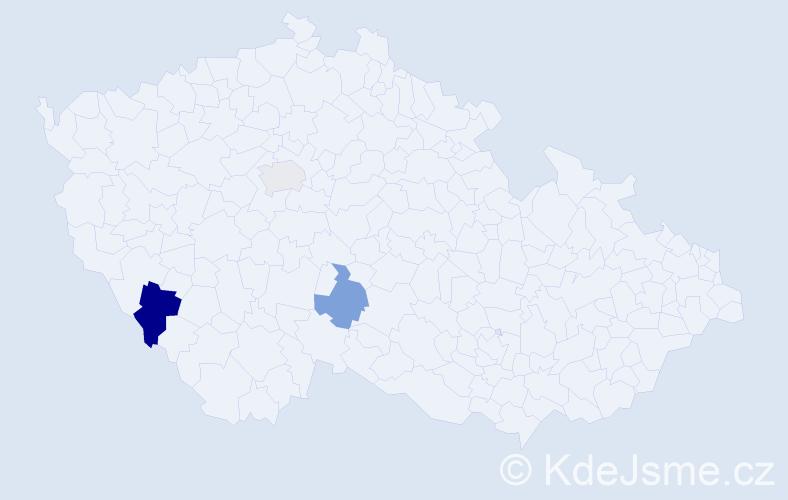 Příjmení: 'Kekenová', počet výskytů 4 v celé ČR