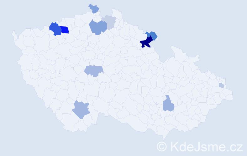 Příjmení: 'Lajer', počet výskytů 28 v celé ČR