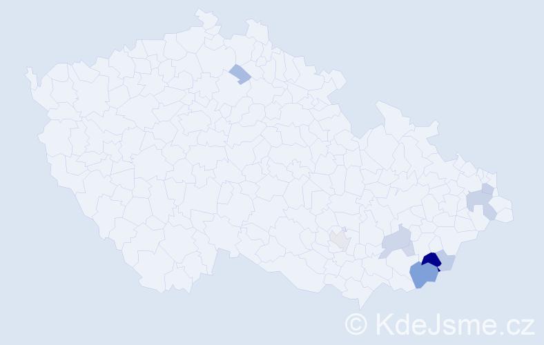 Příjmení: 'Hetmer', počet výskytů 27 v celé ČR