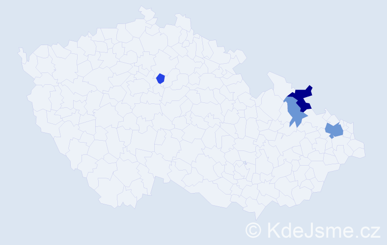Příjmení: 'Česlárová', počet výskytů 10 v celé ČR