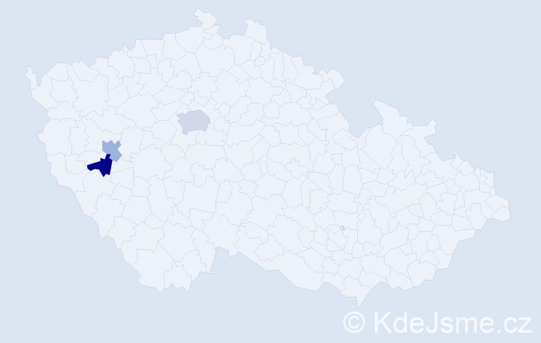 Příjmení: 'Auřadová', počet výskytů 4 v celé ČR