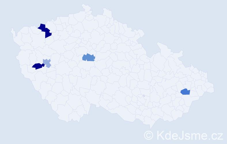 Příjmení: 'Laverová', počet výskytů 6 v celé ČR