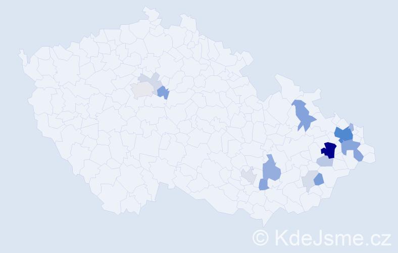 Příjmení: 'Kachel', počet výskytů 50 v celé ČR