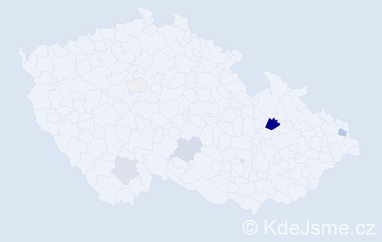 Příjmení: 'Denevová', počet výskytů 10 v celé ČR