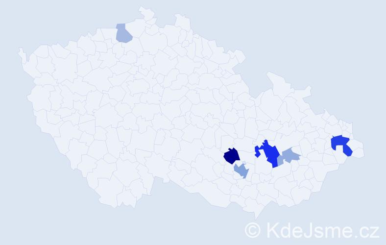 Příjmení: 'Hejčík', počet výskytů 16 v celé ČR