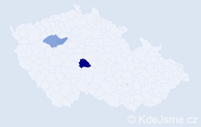 Příjmení: 'Ďurik', počet výskytů 5 v celé ČR