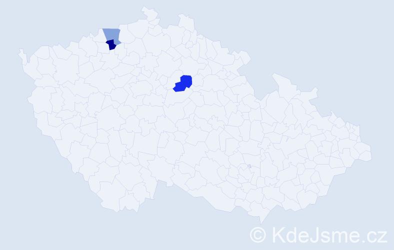 Příjmení: 'Bajmlová', počet výskytů 3 v celé ČR