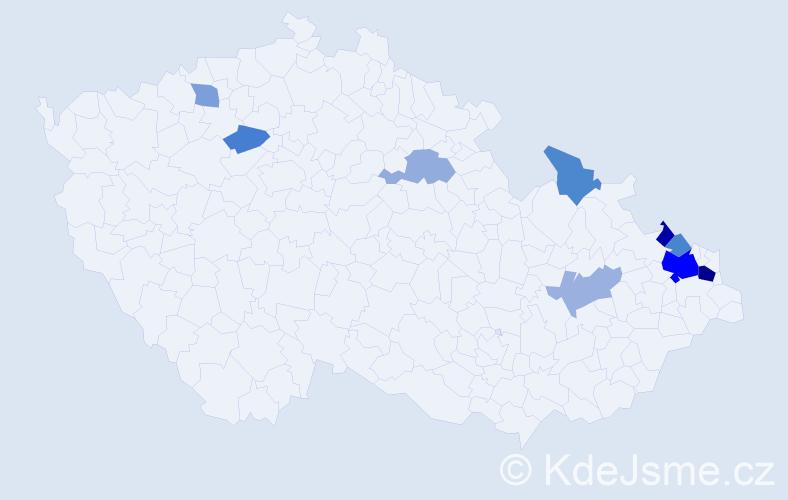Příjmení: 'Arbter', počet výskytů 19 v celé ČR