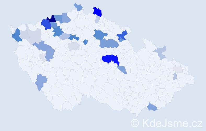 Příjmení: 'Horvat', počet výskytů 107 v celé ČR