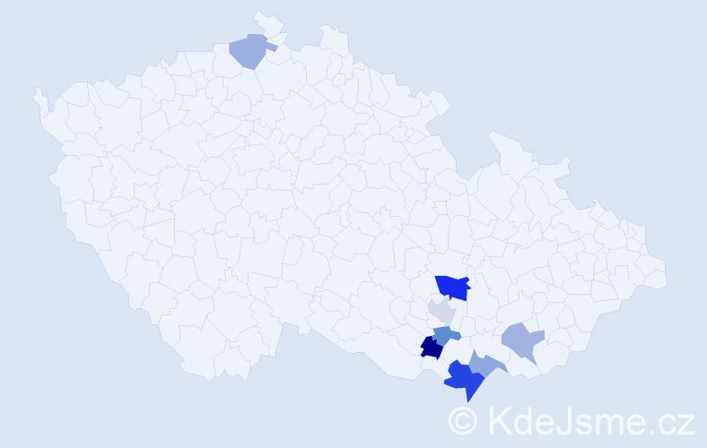Příjmení: 'Cavallaro', počet výskytů 12 v celé ČR