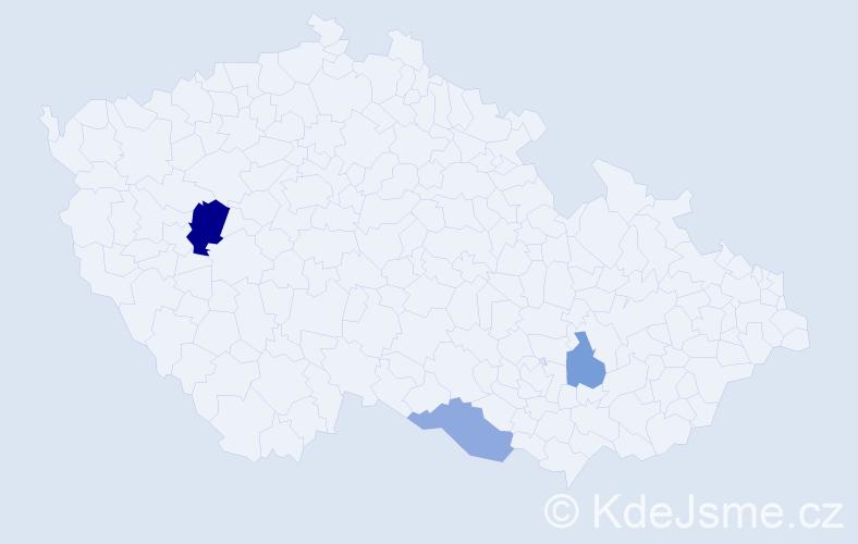 Příjmení: 'Haden', počet výskytů 5 v celé ČR