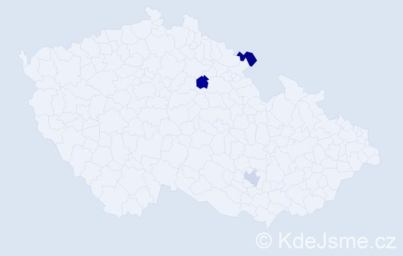 Příjmení: 'Colby', počet výskytů 3 v celé ČR