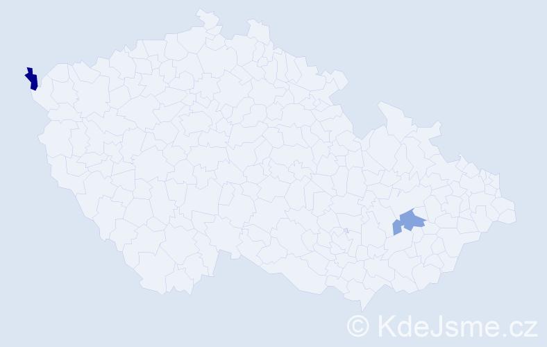 Příjmení: 'Kardas', počet výskytů 2 v celé ČR