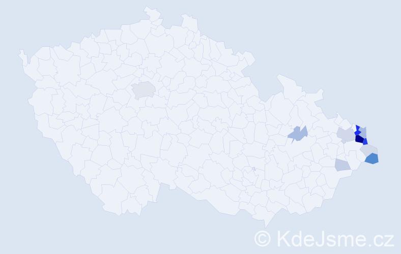 Příjmení: 'Labudek', počet výskytů 56 v celé ČR