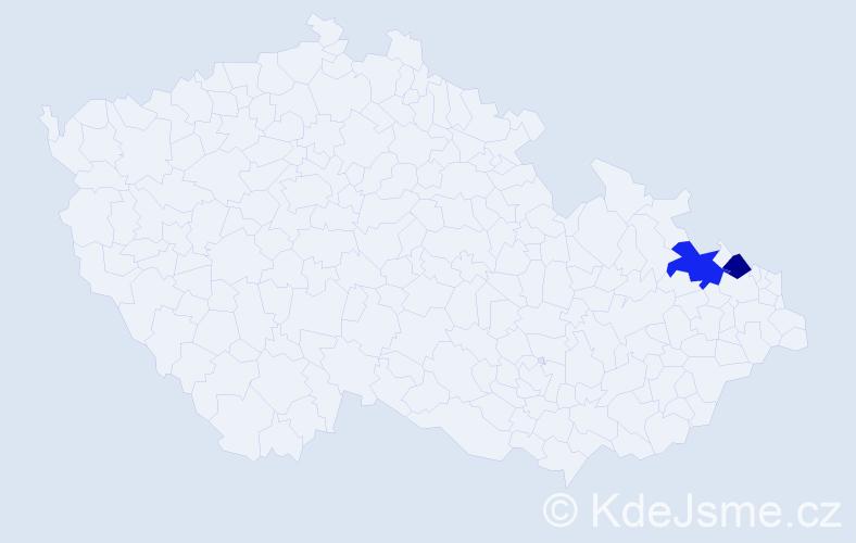 Příjmení: 'Badayová', počet výskytů 5 v celé ČR