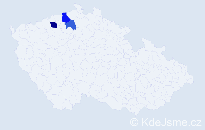 Příjmení: 'Hynlová', počet výskytů 5 v celé ČR
