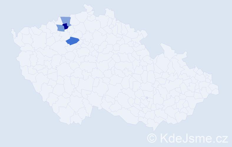 Příjmení: 'Halendová', počet výskytů 4 v celé ČR