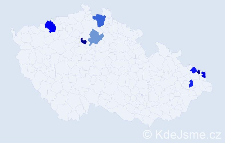 Příjmení: 'Duhaňová', počet výskytů 11 v celé ČR