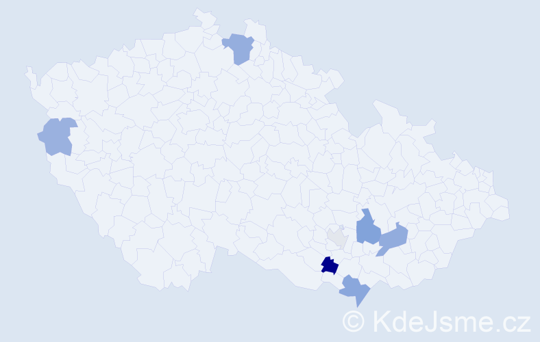Příjmení: 'Kajanovičová', počet výskytů 13 v celé ČR