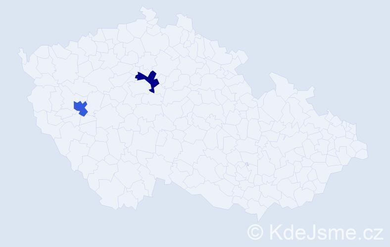 Příjmení: 'Gasimová', počet výskytů 2 v celé ČR