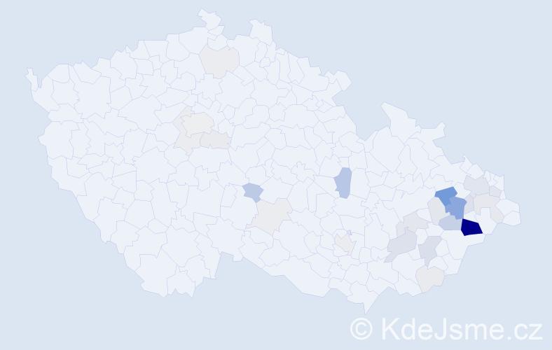 Příjmení: 'Bolcková', počet výskytů 102 v celé ČR