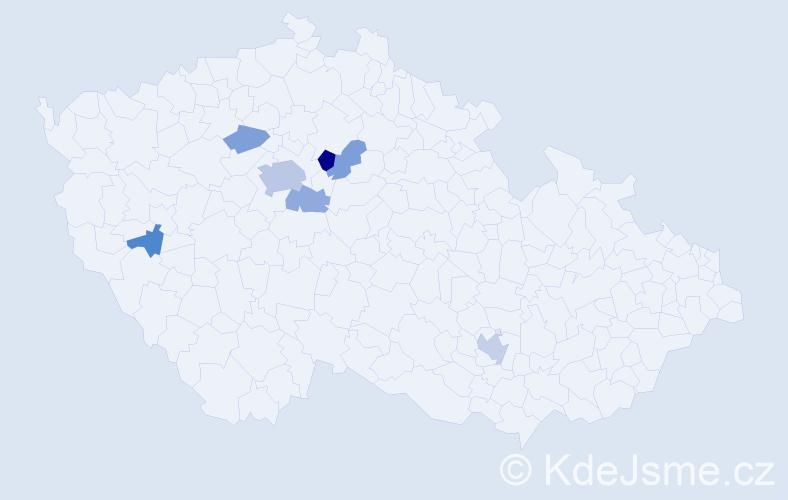 Příjmení: 'Kyclt', počet výskytů 15 v celé ČR