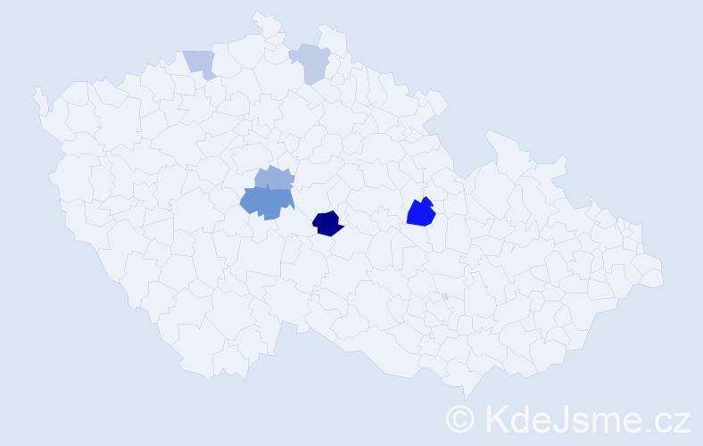 Příjmení: 'Embacherová', počet výskytů 9 v celé ČR