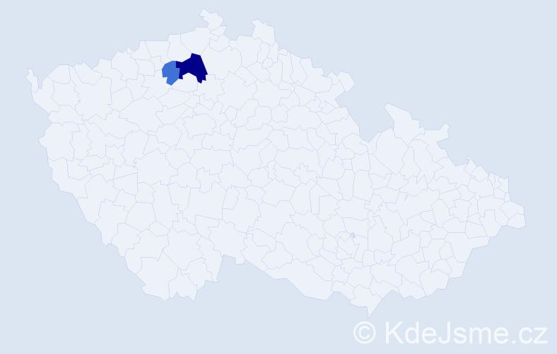 Příjmení: 'Četveryková', počet výskytů 5 v celé ČR