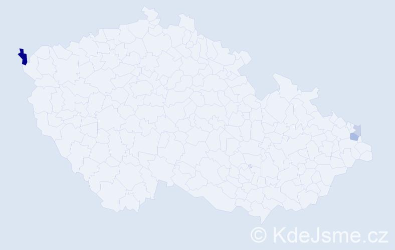 Příjmení: 'Fízerová', počet výskytů 6 v celé ČR
