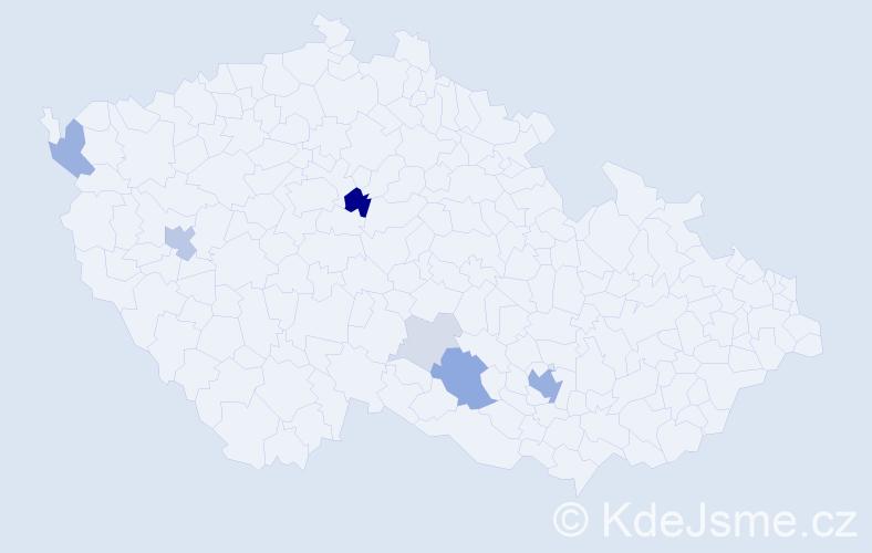 Příjmení: 'Čolakov', počet výskytů 22 v celé ČR