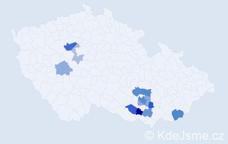 Příjmení: 'Jantošovič', počet výskytů 24 v celé ČR